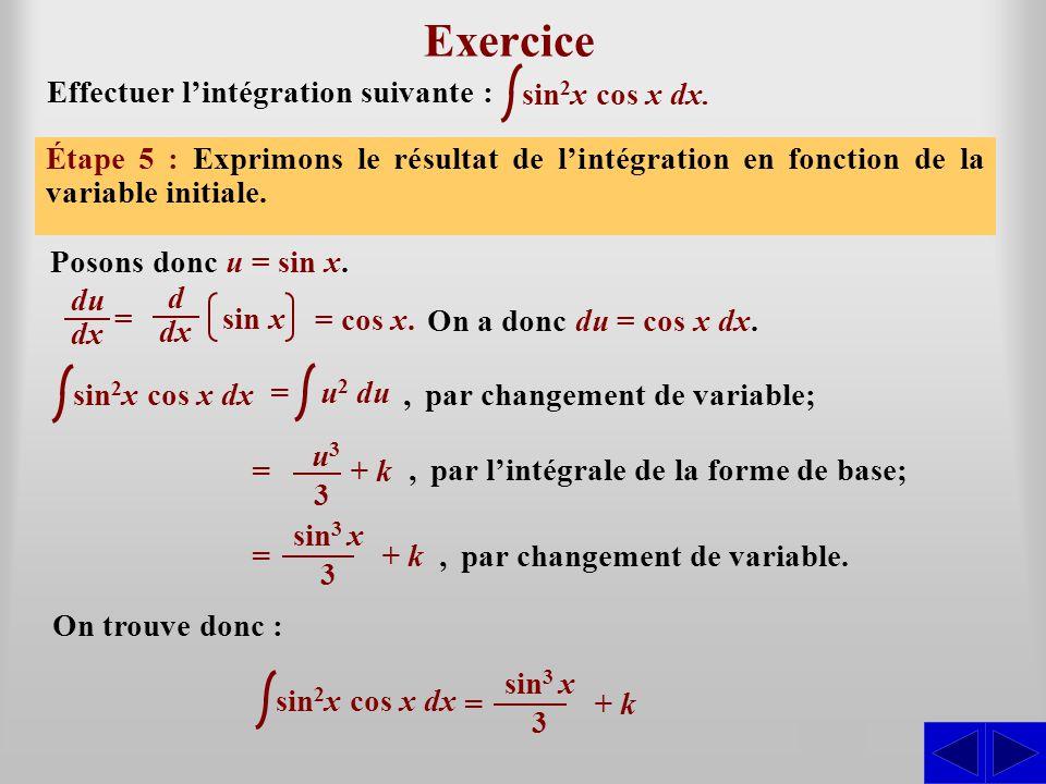 Exercice S S S S S Effectuer l'intégration suivante : sin2x cos x dx.