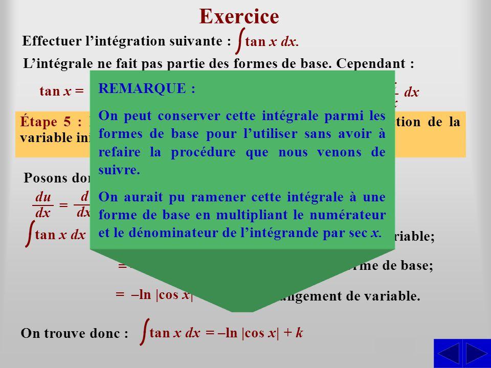 Exercice S S S S S S Effectuer l'intégration suivante : tan x dx.