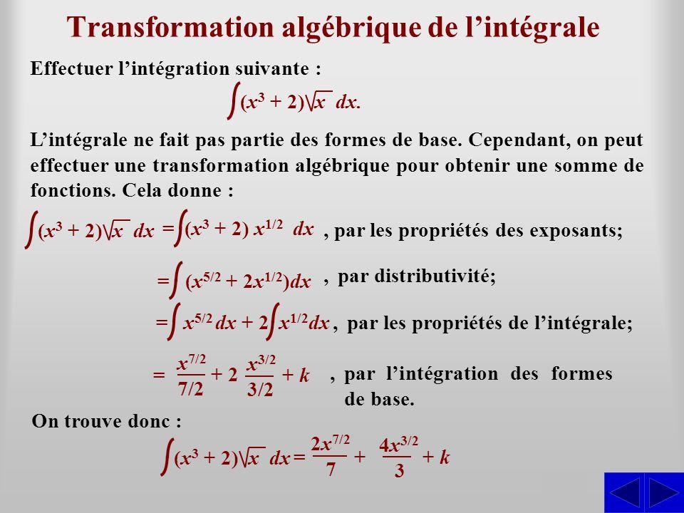 Transformation algébrique de l'intégrale