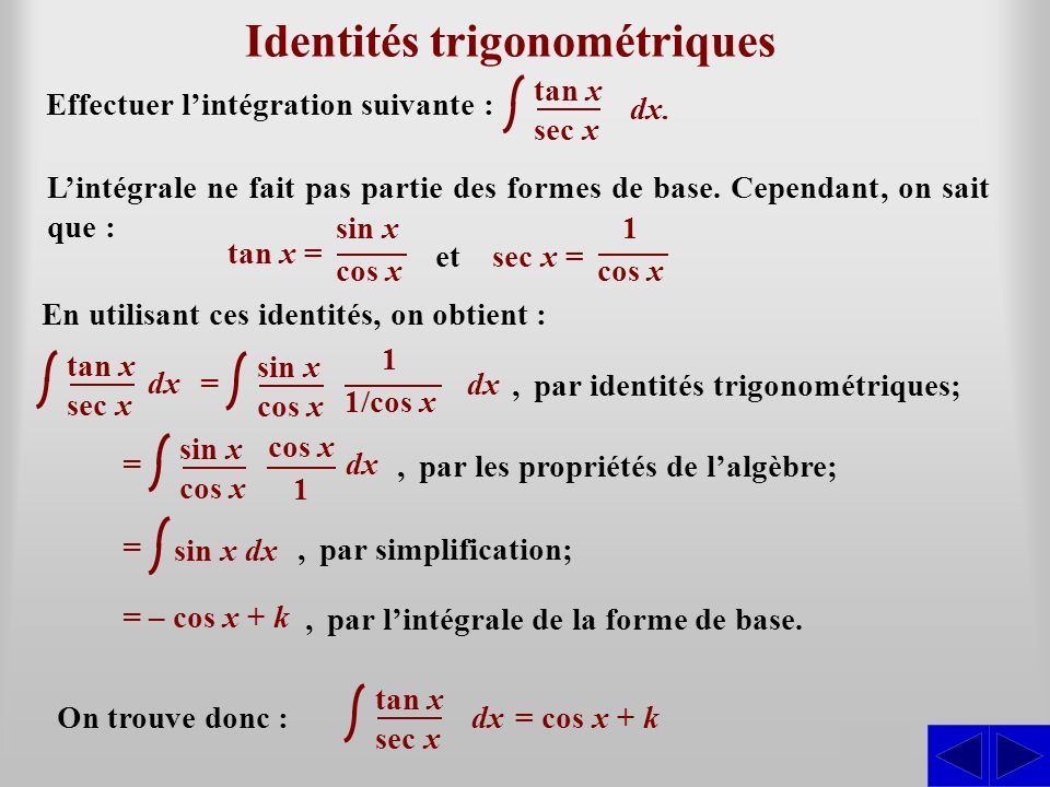Identités trigonométriques