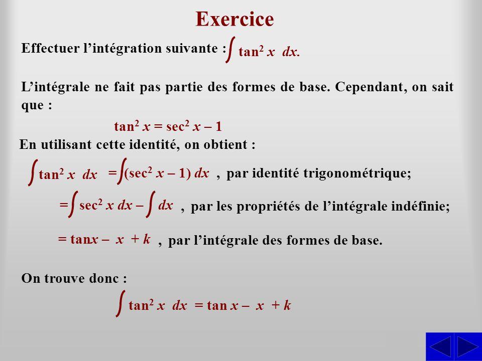Exercice S S Effectuer l'intégration suivante : tan2 x dx.