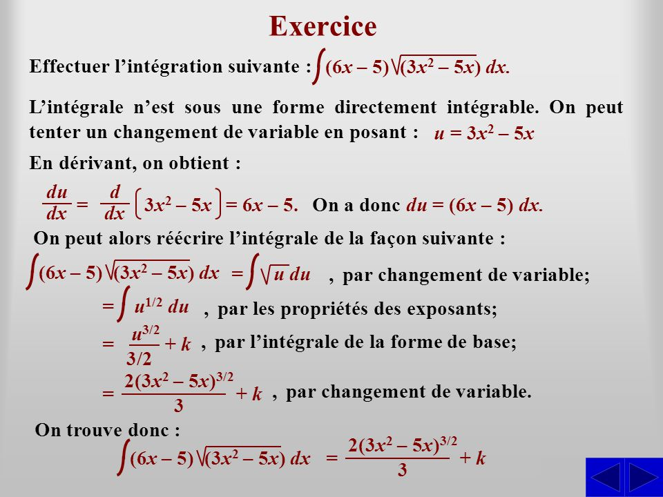 Exercice S S Effectuer l'intégration suivante :