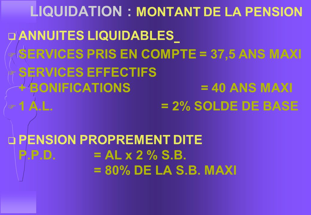 LIQUIDATION : MONTANT DE LA PENSION