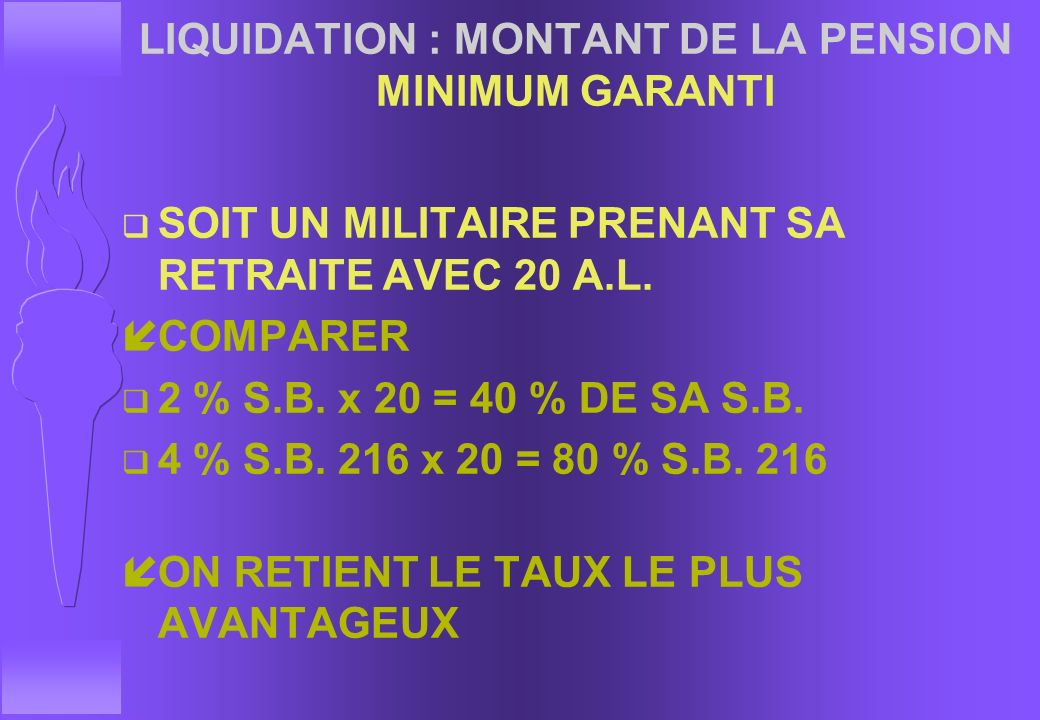 LIQUIDATION : MONTANT DE LA PENSION MINIMUM GARANTI