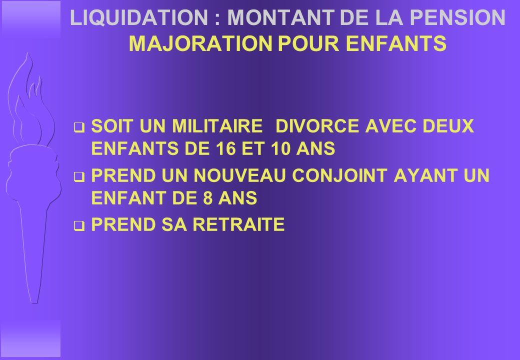 LIQUIDATION : MONTANT DE LA PENSION MAJORATION POUR ENFANTS
