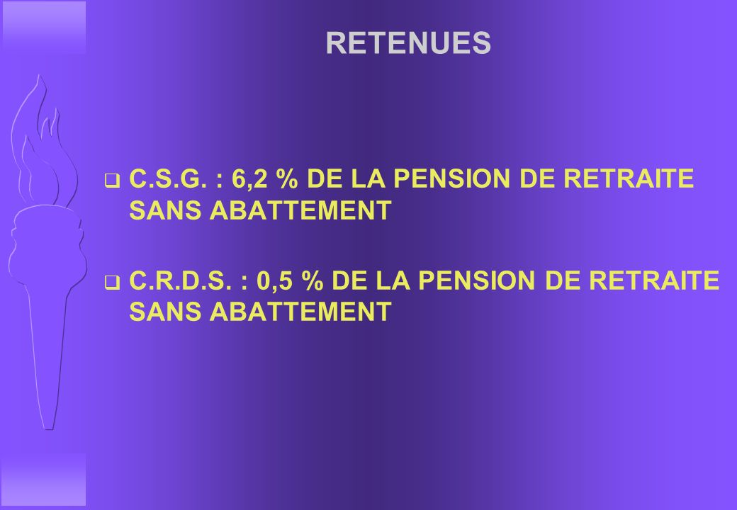 RETENUES C.S.G. : 6,2 % DE LA PENSION DE RETRAITE SANS ABATTEMENT