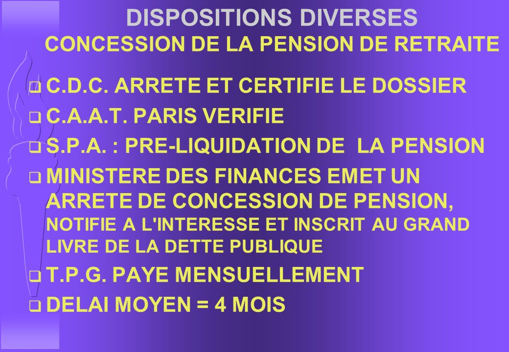 DISPOSITIONS DIVERSES CONCESSION DE LA PENSION DE RETRAITE