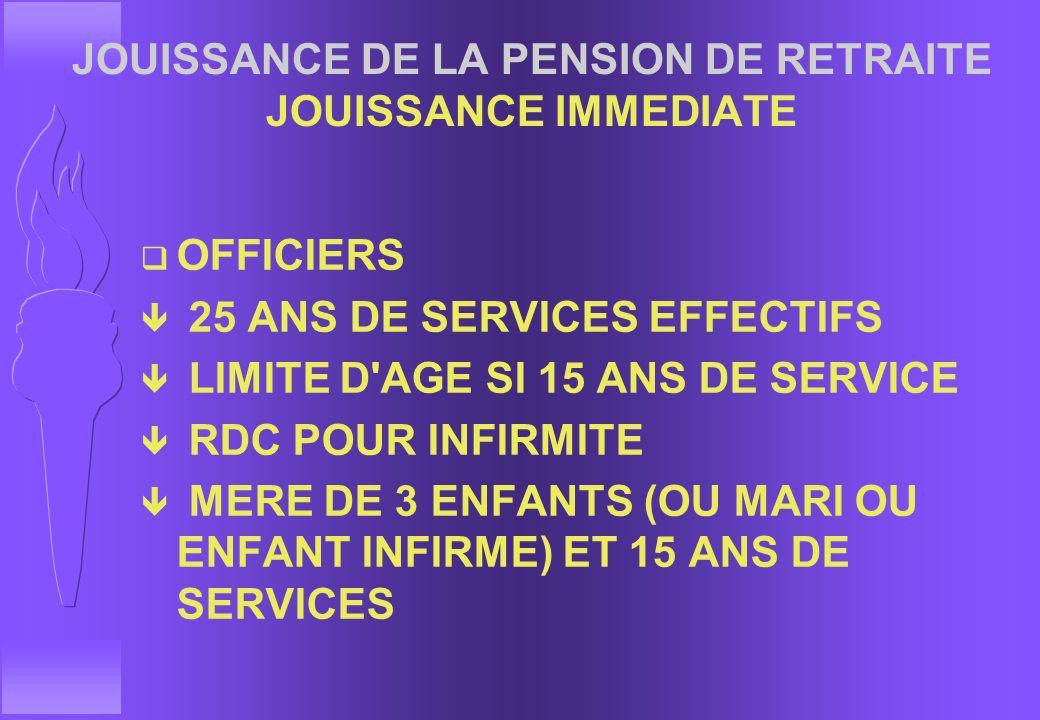JOUISSANCE DE LA PENSION DE RETRAITE JOUISSANCE IMMEDIATE