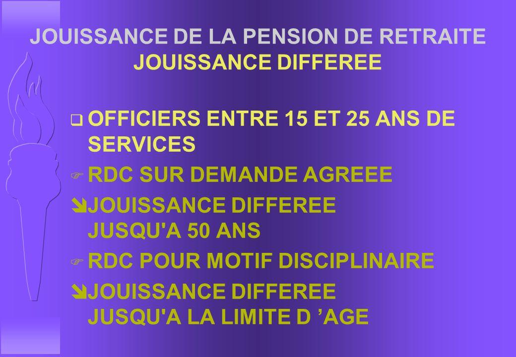 JOUISSANCE DE LA PENSION DE RETRAITE JOUISSANCE DIFFEREE