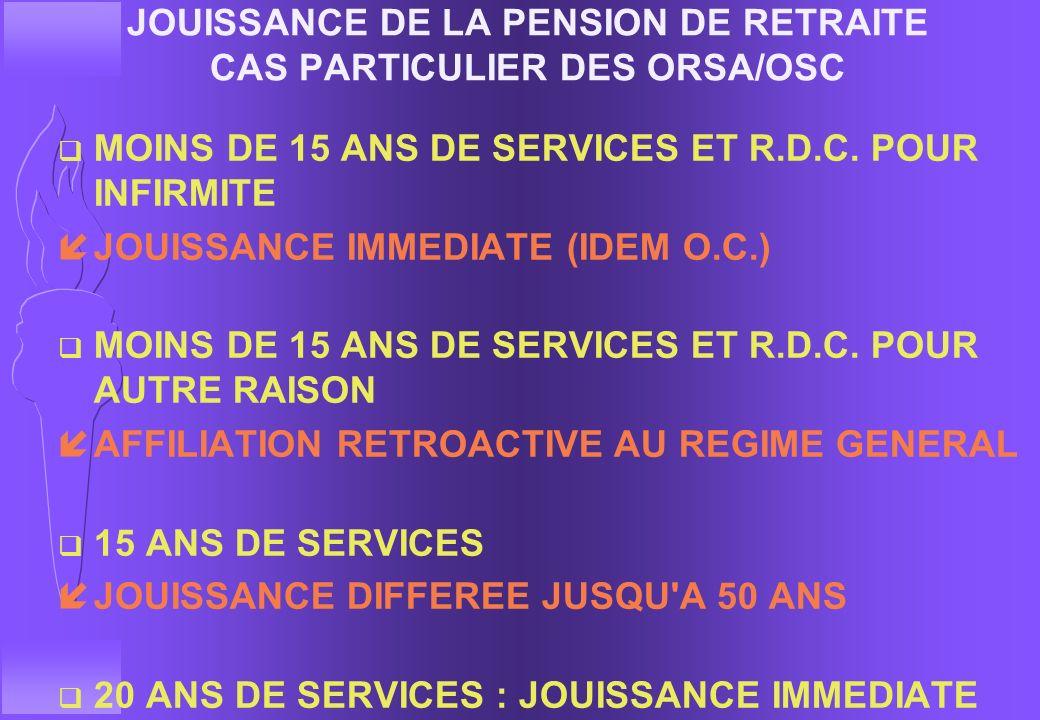 JOUISSANCE DE LA PENSION DE RETRAITE CAS PARTICULIER DES ORSA/OSC