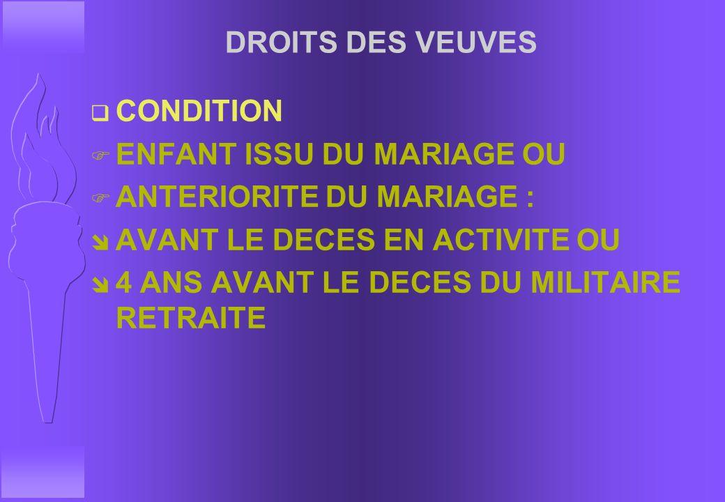 DROITS DES VEUVES CONDITION. ENFANT ISSU DU MARIAGE OU. ANTERIORITE DU MARIAGE : AVANT LE DECES EN ACTIVITE OU.