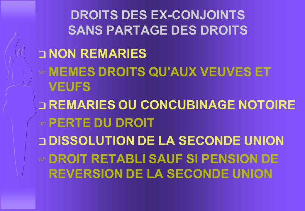 DROITS DES EX-CONJOINTS SANS PARTAGE DES DROITS