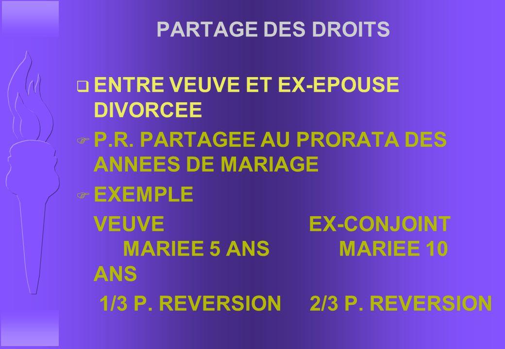 PARTAGE DES DROITS ENTRE VEUVE ET EX-EPOUSE DIVORCEE. P.R. PARTAGEE AU PRORATA DES ANNEES DE MARIAGE.