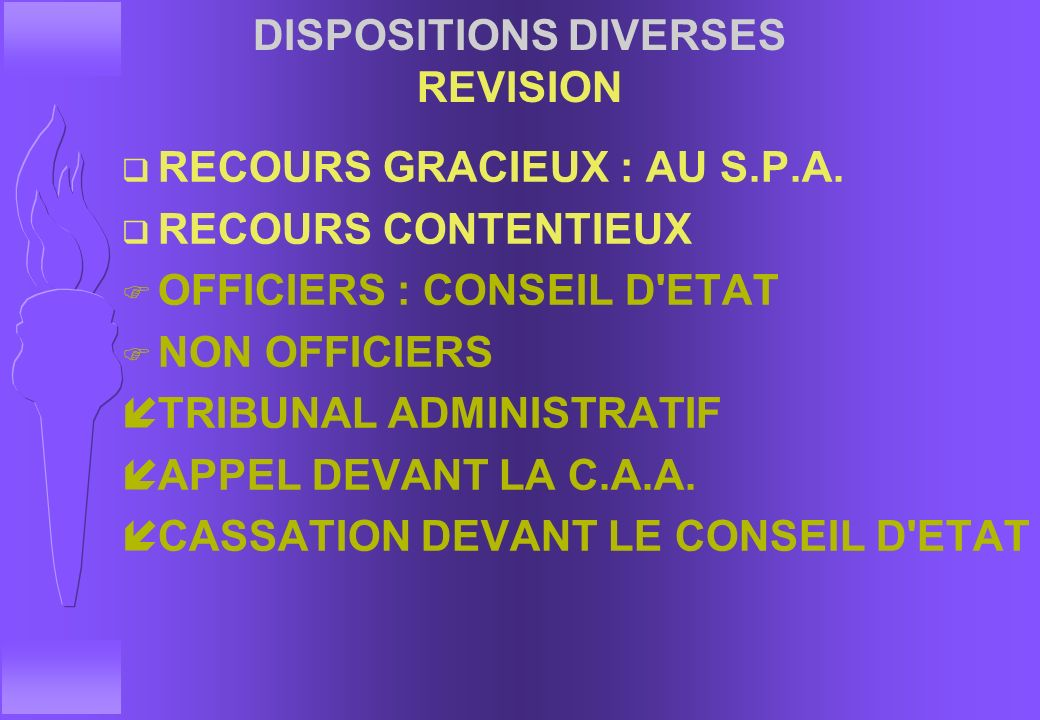 DISPOSITIONS DIVERSES REVISION