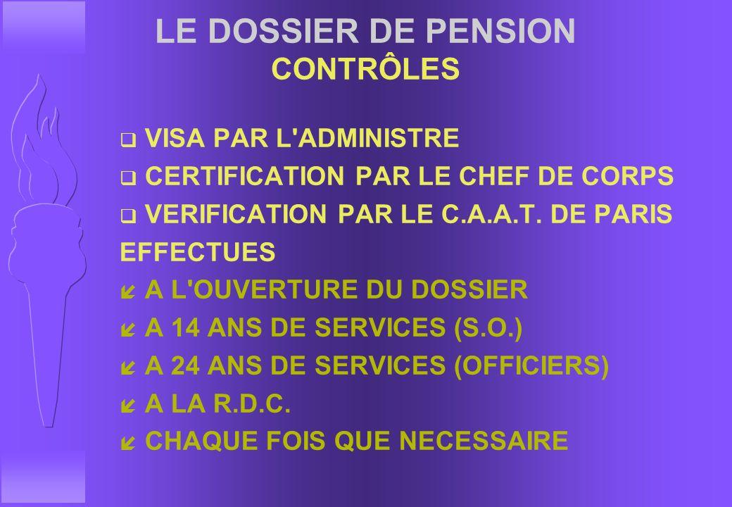 LE DOSSIER DE PENSION CONTRÔLES