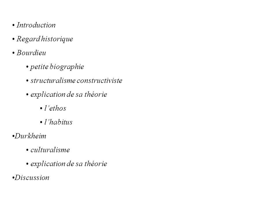 Introduction Regard historique. Bourdieu. petite biographie. structuralisme constructiviste. explication de sa théorie.