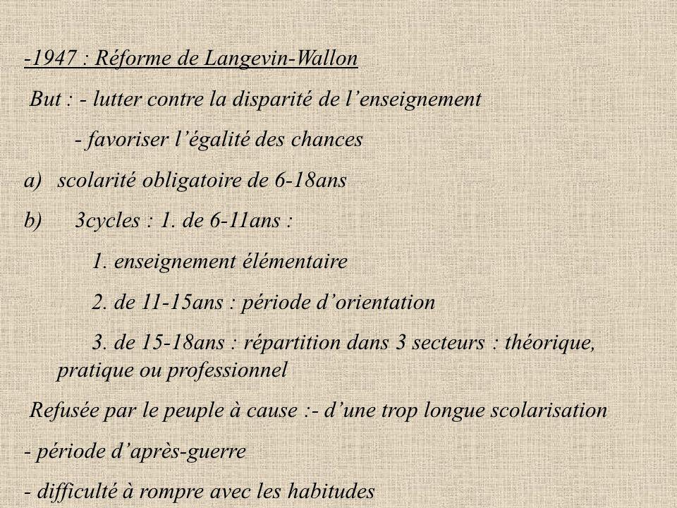 -1947 : Réforme de Langevin-Wallon