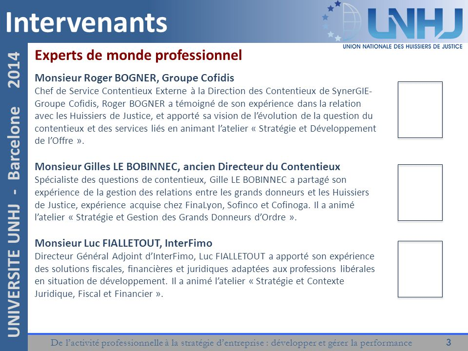 Intervenants Experts de monde professionnel