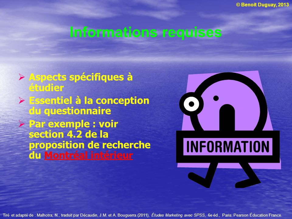Informations requises