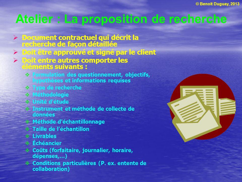 Atelier : La proposition de recherche