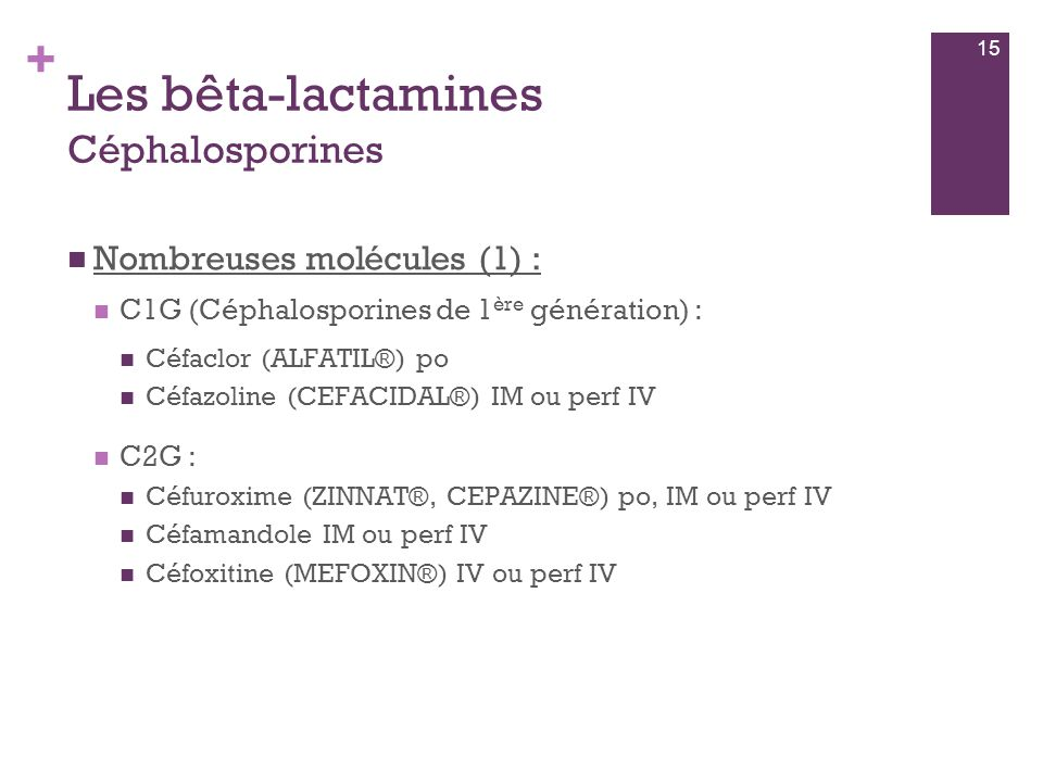 Les bêta-lactamines Céphalosporines