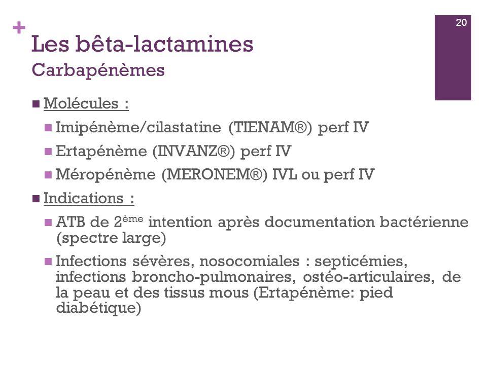 Les bêta-lactamines Carbapénèmes