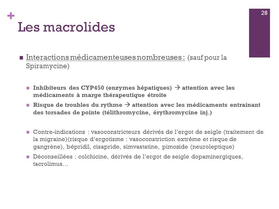 28 Les macrolides. Interactions médicamenteuses nombreuses : (sauf pour la Spiramycine)