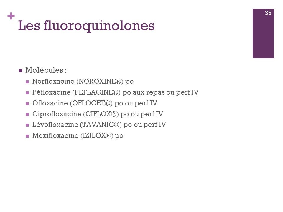 Les fluoroquinolones Molécules : Norfloxacine (NOROXINE®) po