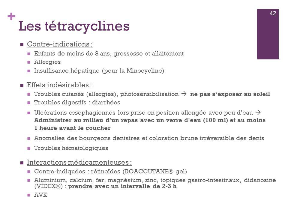Les tétracyclines Contre-indications : Effets indésirables :