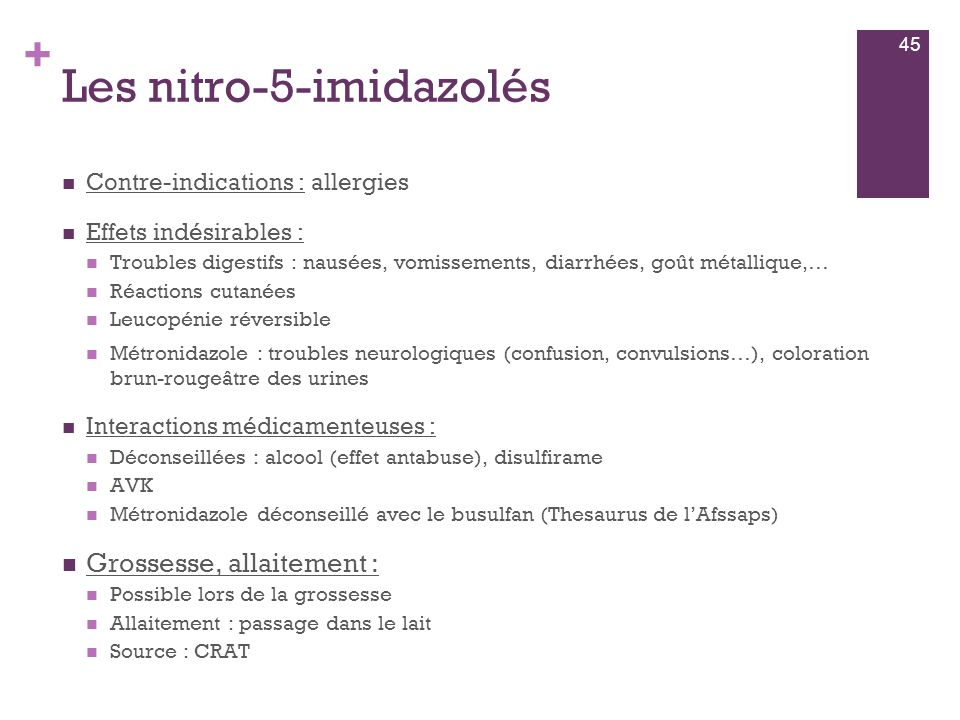 Les nitro-5-imidazolés