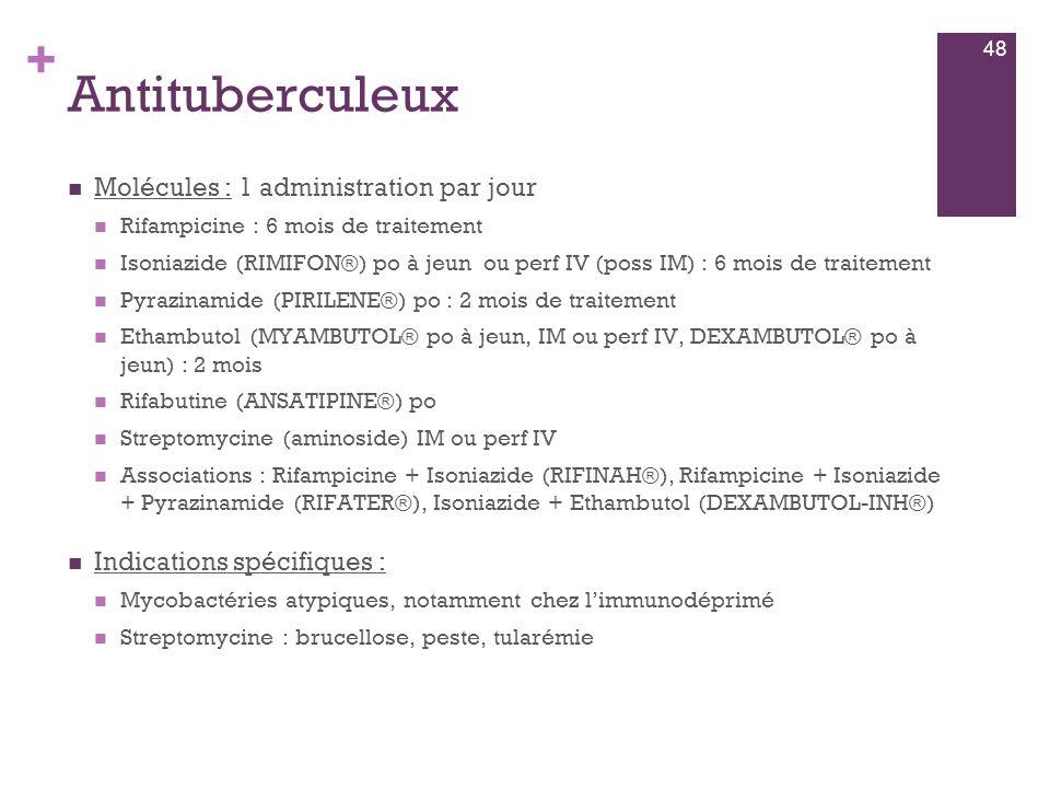 Antituberculeux Molécules : 1 administration par jour