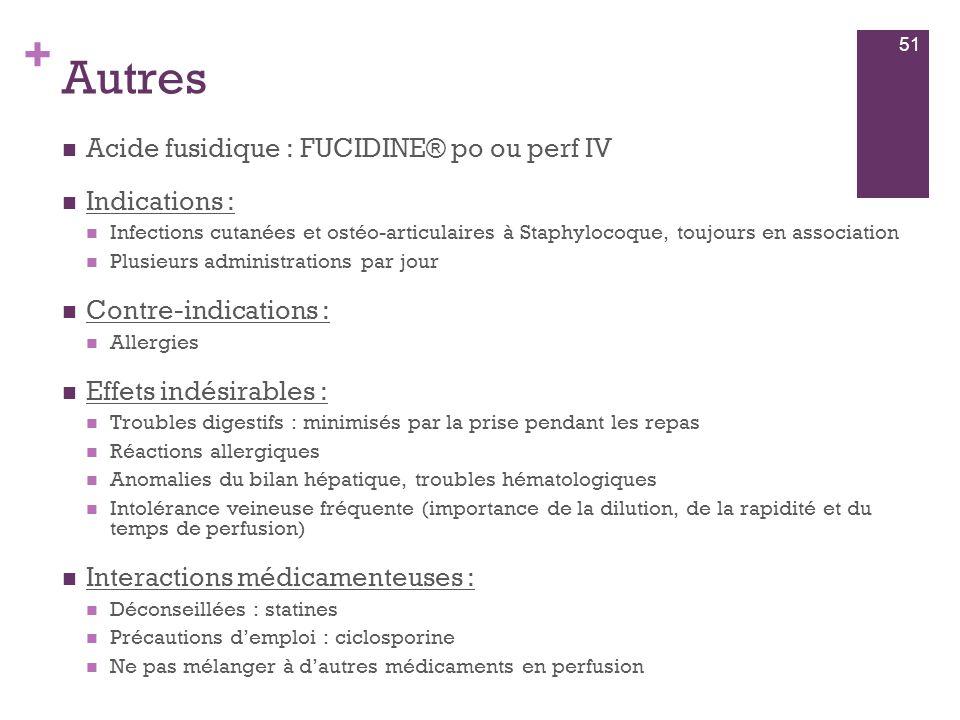 Autres Acide fusidique : FUCIDINE® po ou perf IV Indications :
