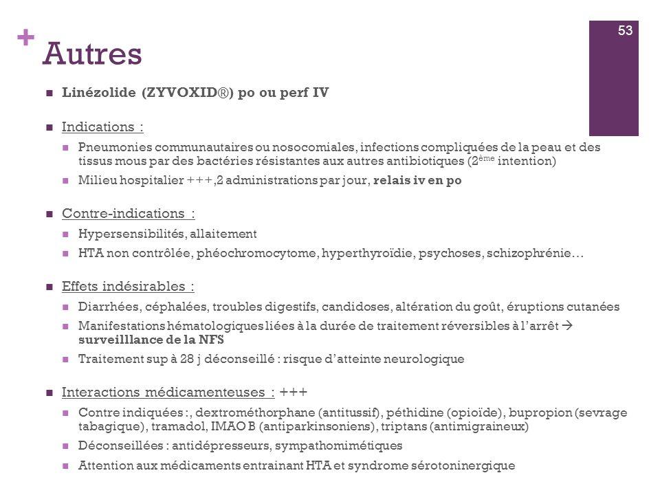 Autres Linézolide (ZYVOXID®) po ou perf IV Indications :