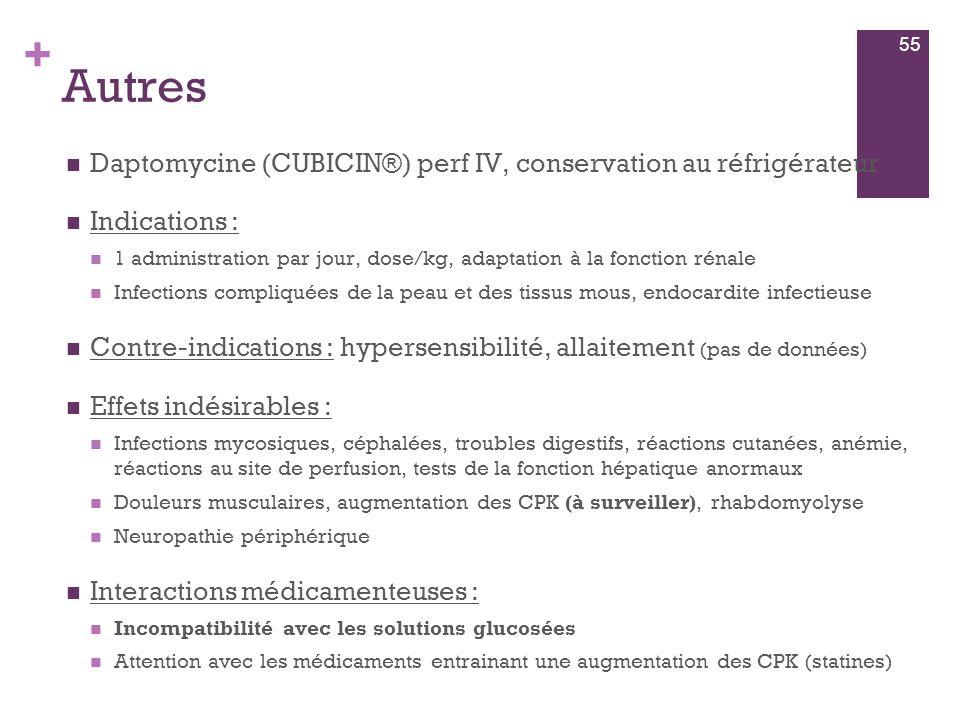 Autres Daptomycine (CUBICIN®) perf IV, conservation au réfrigérateur
