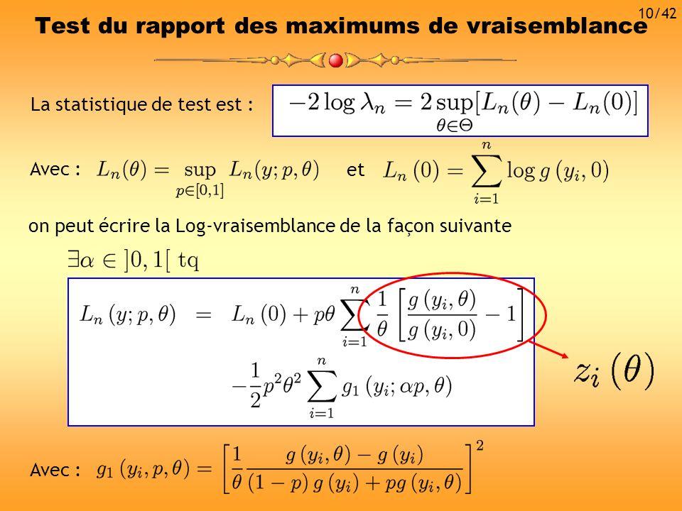Test du rapport des maximums de vraisemblance