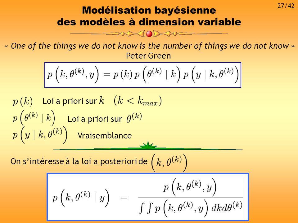 Modélisation bayésienne des modèles à dimension variable