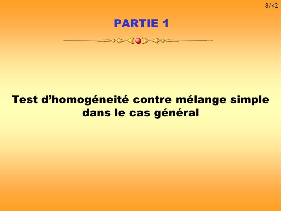 Test d'homogéneité contre mélange simple