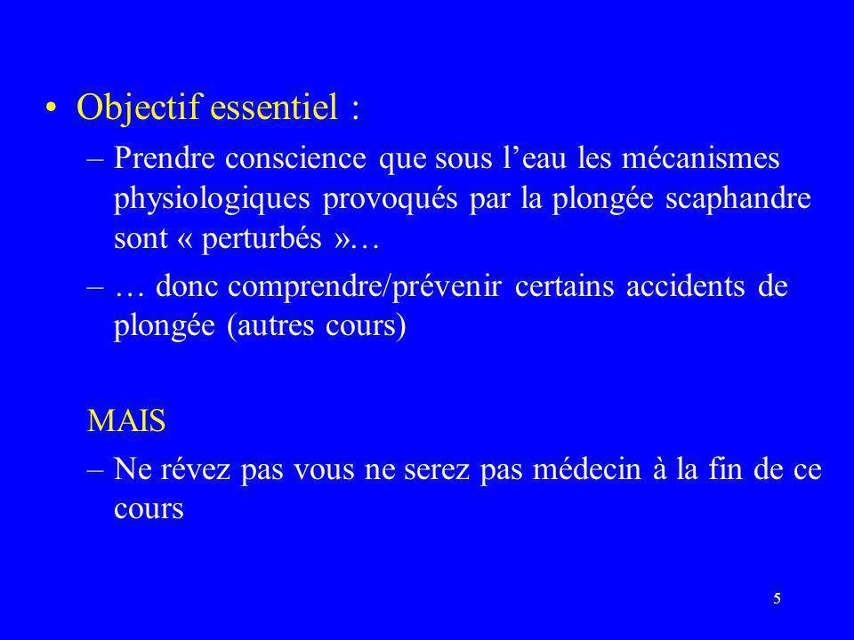 Objectif essentiel : Prendre conscience que sous l'eau les mécanismes physiologiques provoqués par la plongée scaphandre sont « perturbés »…
