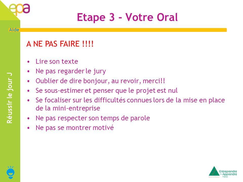 Etape 3 - Votre Oral A NE PAS FAIRE !!!! Lire son texte