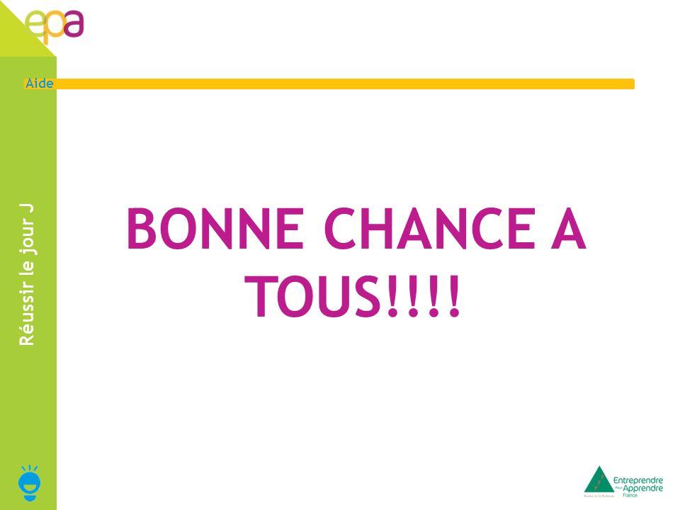 BONNE CHANCE A TOUS!!!! Réussir le jour J