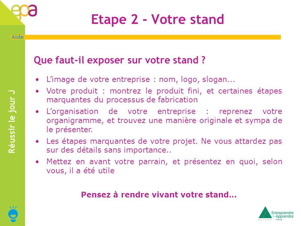 Etape 2 - Votre stand Que faut-il exposer sur votre stand