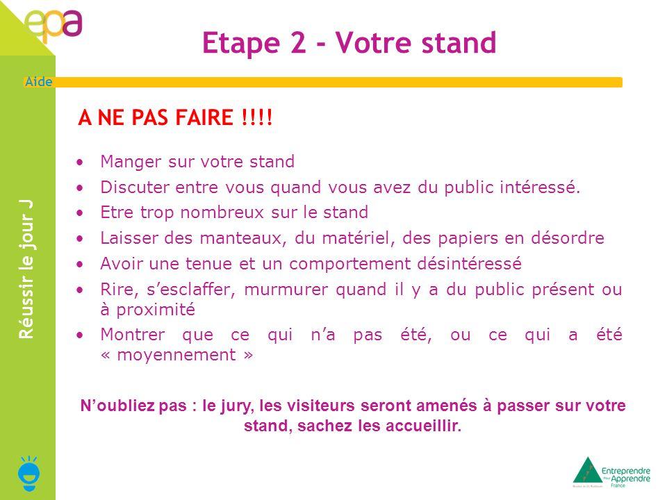 Etape 2 - Votre stand A NE PAS FAIRE !!!! Réussir le jour J