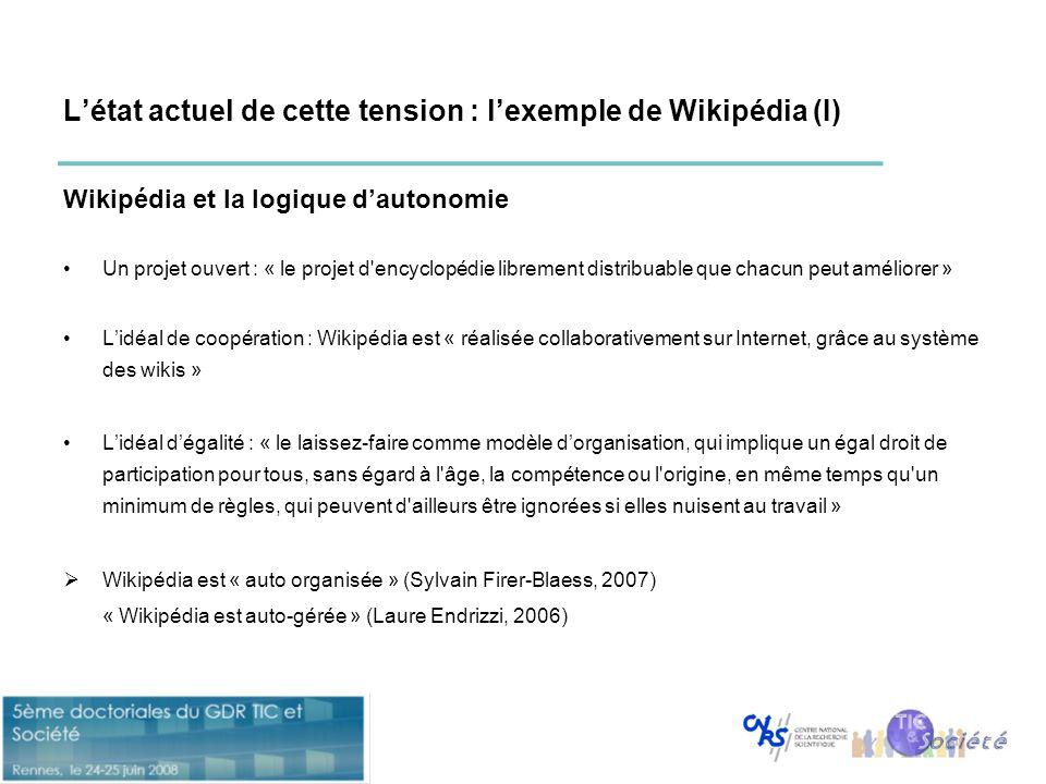 L'état actuel de cette tension : l'exemple de Wikipédia (I)