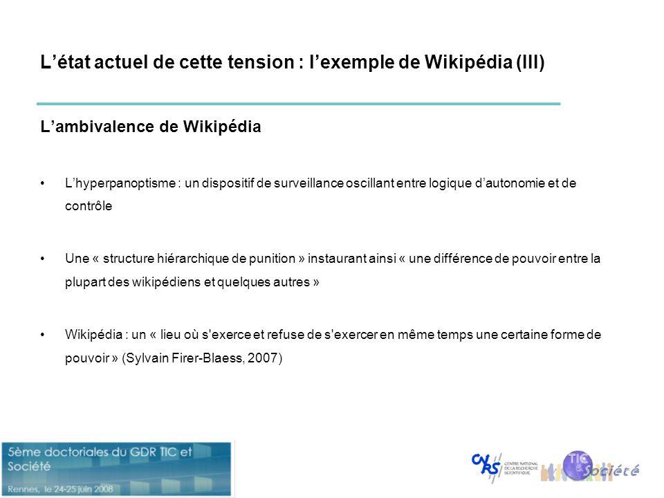 L'état actuel de cette tension : l'exemple de Wikipédia (III)