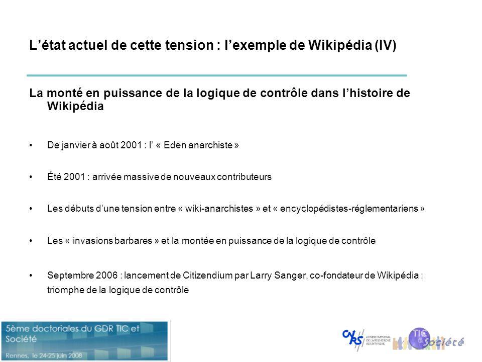 L'état actuel de cette tension : l'exemple de Wikipédia (IV)