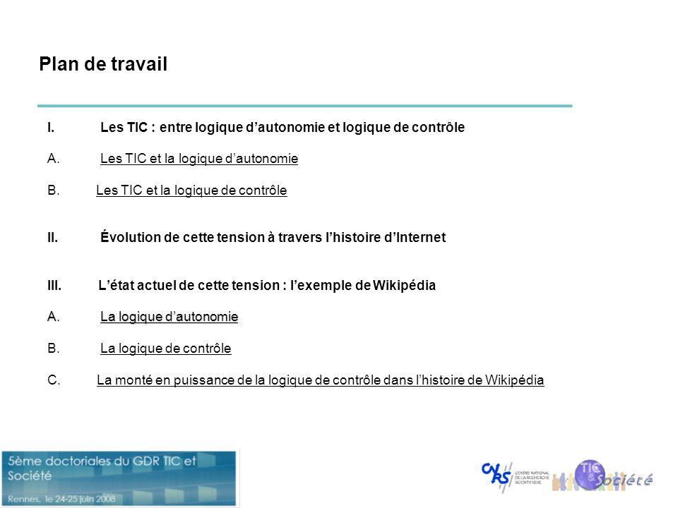 Plan de travail Les TIC : entre logique d'autonomie et logique de contrôle Les TIC et la logique d'autonomie.