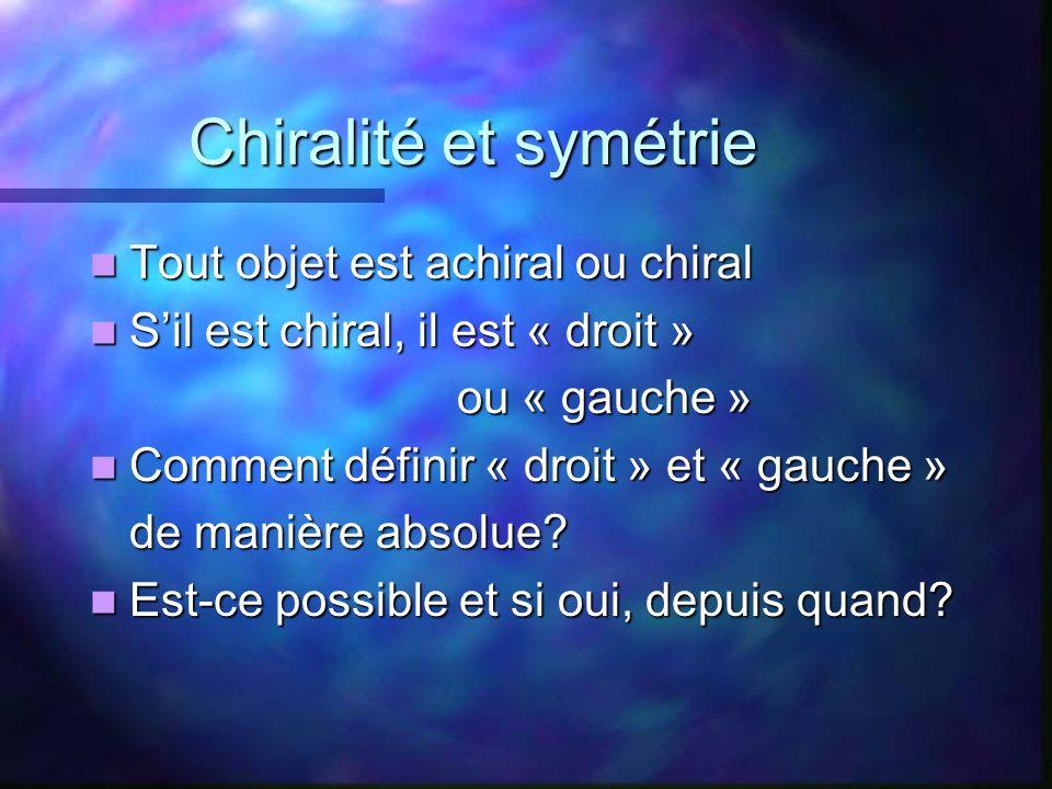 Chiralité et symétrie Tout objet est achiral ou chiral