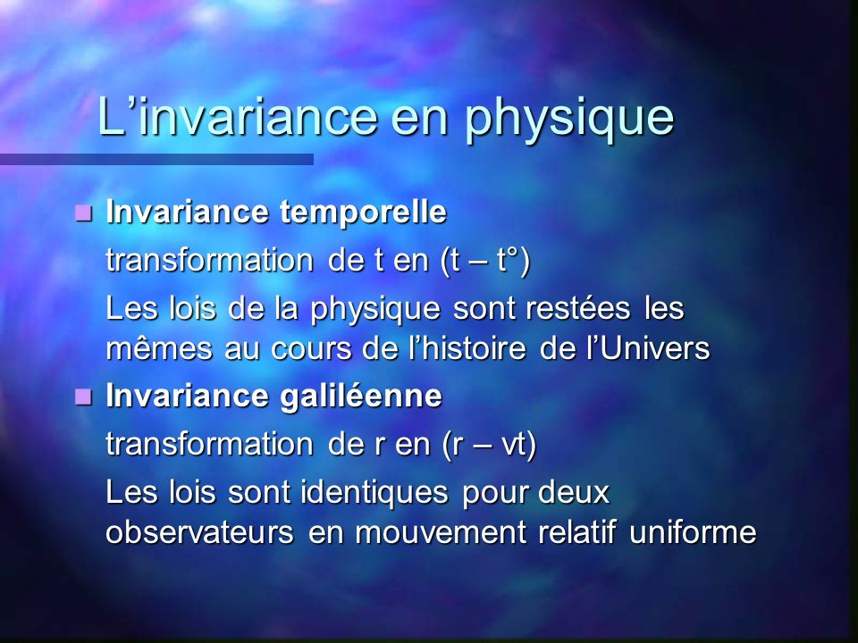 L'invariance en physique
