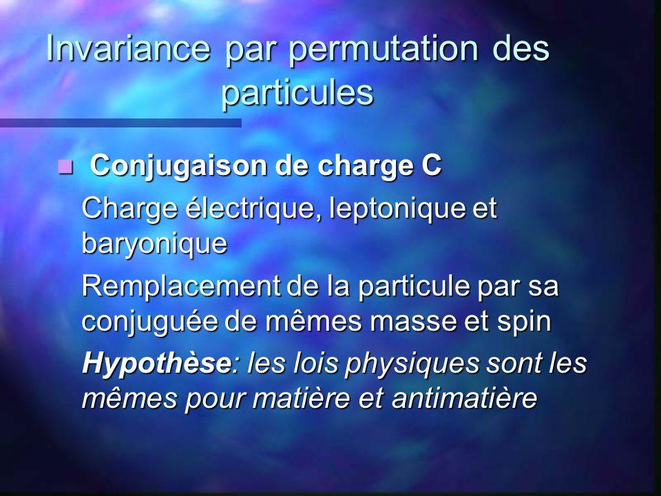 Invariance par permutation des particules