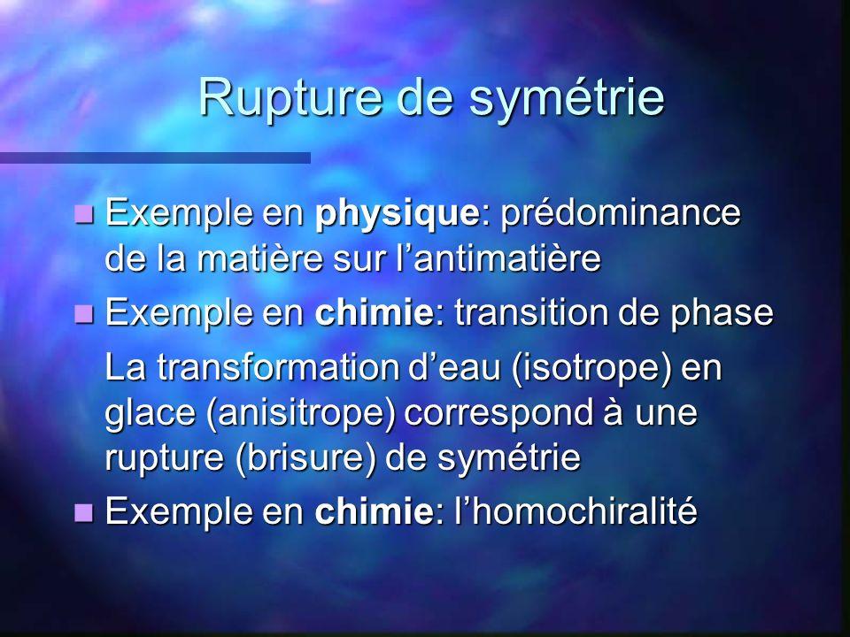 Rupture de symétrie Exemple en physique: prédominance de la matière sur l'antimatière. Exemple en chimie: transition de phase.